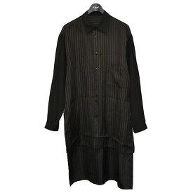 【中古】YOHJI YAMAMOTO 2018SS ストライプスタッフシャツ ロングシャツ ブラック×ブラウン サイズ:3 【150121】(ヨウジヤマモト)