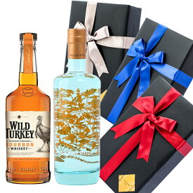 敬老の日 プレゼント ラッピング お酒 おしゃれ ギフト ワイルドターキー / サイレントプール ジン 2本セット ウイスキー スピリッツ 飲み比べ #giftw493 alc