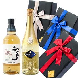 敬老の日 プレゼント ラッピング お酒 おしゃれ ギフト知多 / ブルーナン ゴールド 金箔入り 2本セット ウイスキー スパークリングワイン 飲み比べ #giftw511 alc