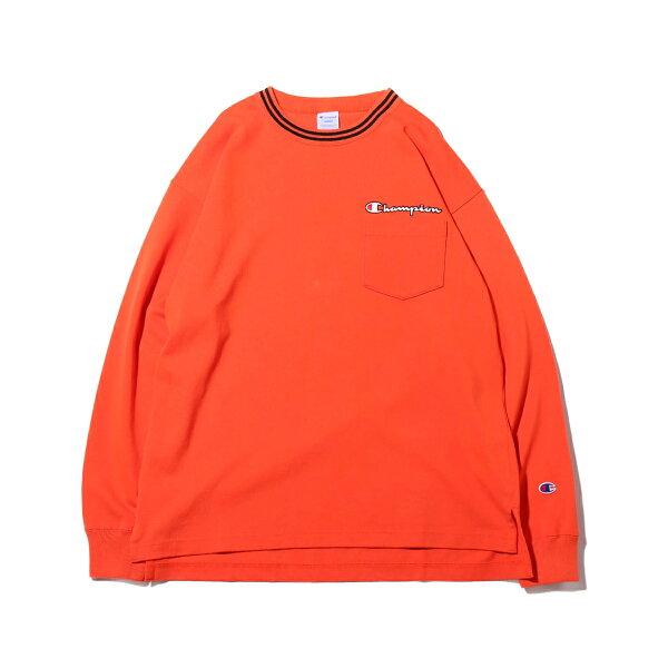 ChampionLONGSLEEVET-SHIRT(オレンジ)(チャンピオンロングスリーブティーシャツ)【メンズ】【長袖Tシャツ】【19FA-I】