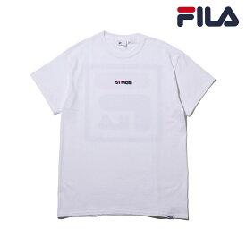 FILA x atmos Square BIG LOGO T-Shirt (WHITE)(フィラ × アトモス スクエア ビッグ ロゴ ティーシャツ) 【ユニセックスサイズ】【Tシャツ】【18FA-S】