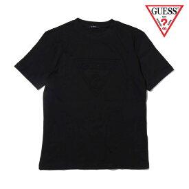 GUESS MEN'S S/SLV TEE SHIRT W/EMBOSSED LOGO AT(BLACK)(ゲス メンズショートスリーブ エンボス ロゴ ティーシャツ)
