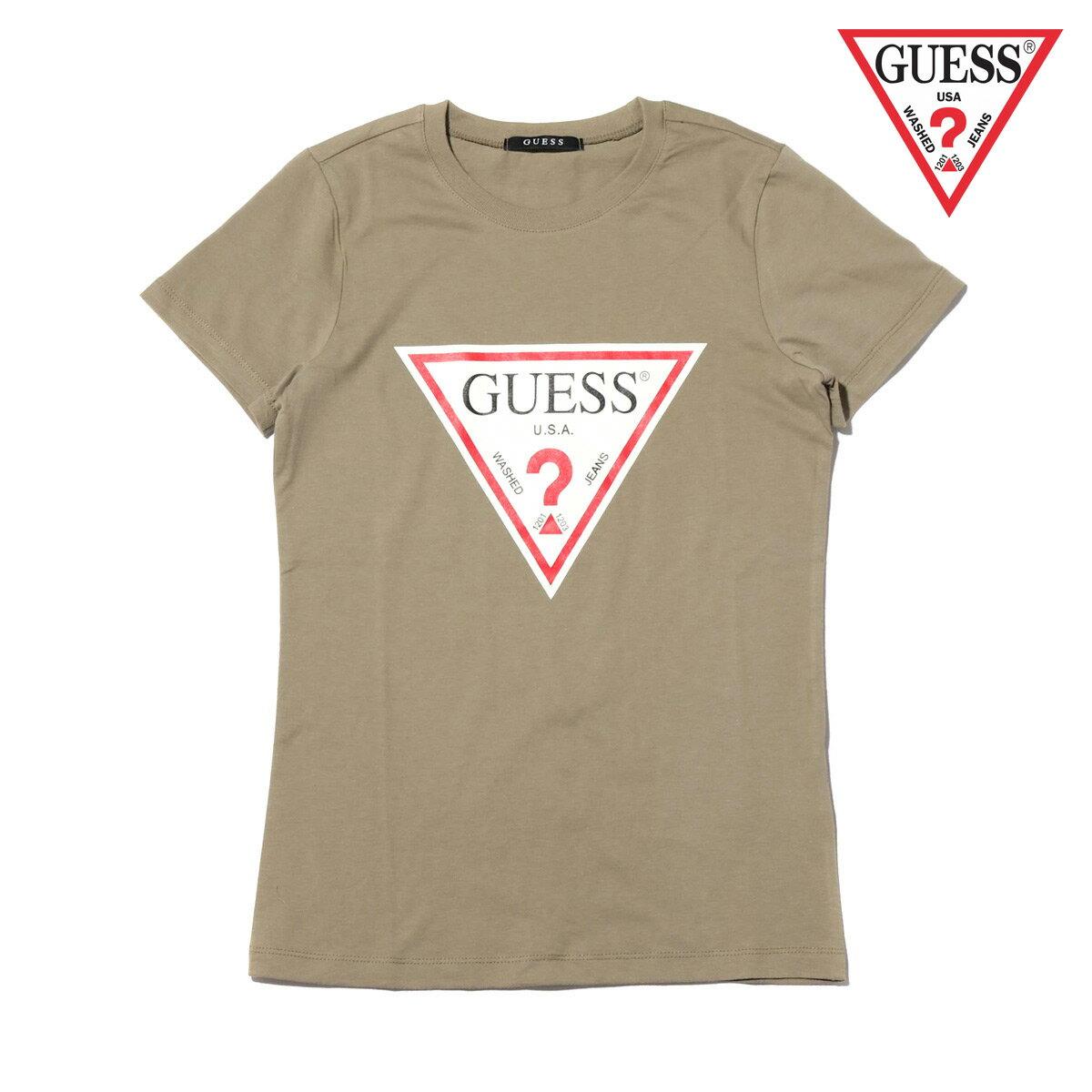 GUESS WMN'S S/SLV LOGO TEE SHIRT(KHAKI)(ゲス ウィメンズ ショートスリーブ ロゴ Tシャツ)