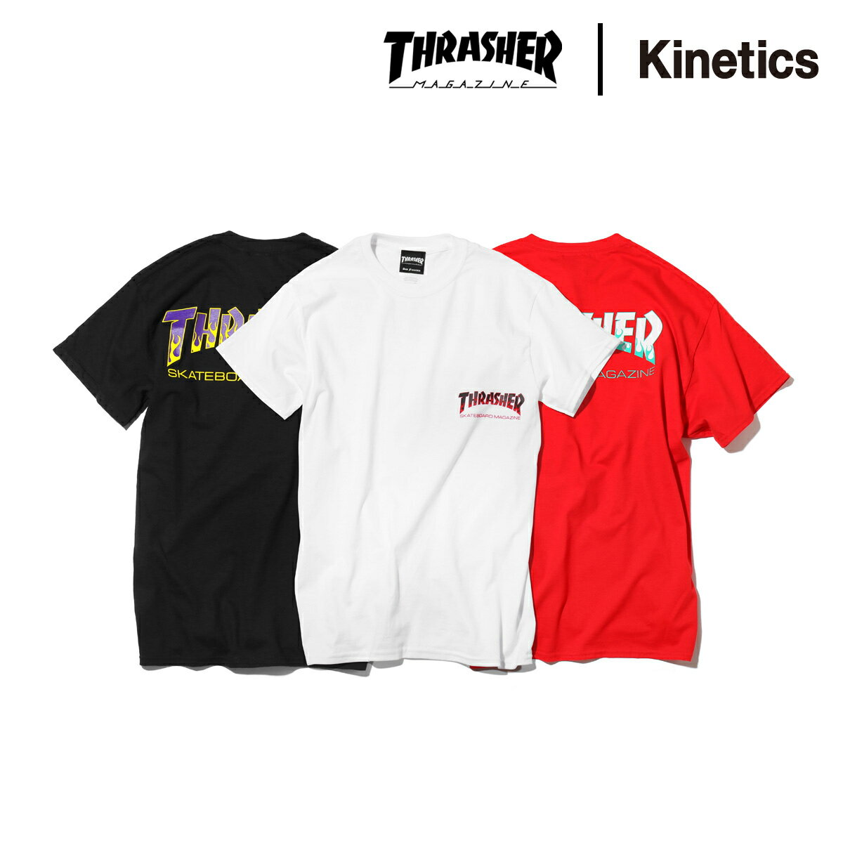 THRASHER for Kinetics BBQ-2 TEE (3色展開) 【メンズサイズ】【18SS-I】