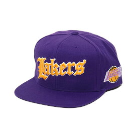 Mitchell & Ness Old English SNAP BACK- LA.Lakers(PURPLE)(ミッチェルアンドネス オールドイングリッシュ キャップ/ロサンゼルスレイカーズ)【メンズ】【キャップ】【19HO-I】
