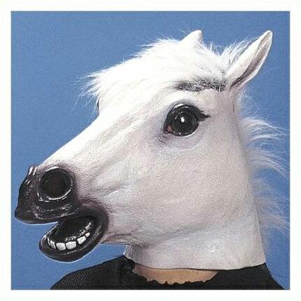 在庫あり!!【送料490円】アニマルマスク 白うま マスク 被り物 コスプレ 白馬 パーティーグッズ