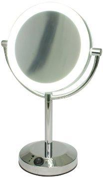 正規品 LEDライト搭載 真実の鏡DX 両面型 5倍拡大鏡 LED メイク 女優鏡 アイキャッチ メイク ミラー 置鏡 あす楽!!【送料無料】