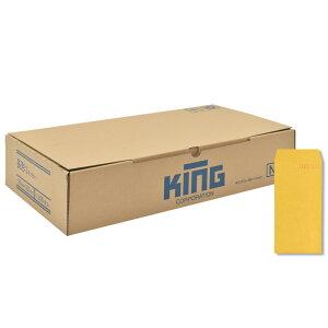 キングコーポレーション 長形3号封筒 1,000枚 色クラフト(コニーラップ) 85g 郵便枠付き スミ貼 イエロー 120×235mm 080106