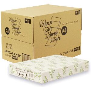 【送料無料】国産 高白色PPC用紙 マルチカットペーパー ホワイト 64g/m2 白色度90% A4 500枚×5冊 2,500枚 PPCA4XW コピー用紙 A4