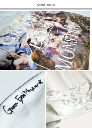 予約販売【GreenEyedMonster】刺繍オパールプリントビッグロンTTシャツユニセックス青木志貴