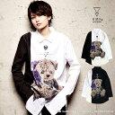 1月上旬〜中旬頃入荷の予約販売KMK へっどふぉんワールドパープルローズベアー切替ステッチブロードビッグシャツキン…