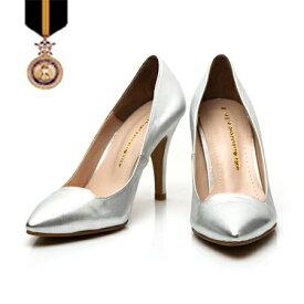 22cm 26cm 小さいサイズ・大きいサイズ!【上品・本革 パンプス】パンプスハイヒール/ピンヒール/パーティー☆シルバーカラーデザインモダンパンプス【手作り靴の為ご注文後キャンセル・返品・交換不可商品】【otonashoes_d19】