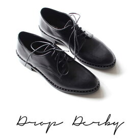 ローファー レディース パンプス 大人 学生 厚底 デザイン シューズ 靴 おしゃれ スーツシューズ シンプル 高級感 素敵 かわいい◎361.ドロップダービーシューズ[ブラック]
