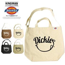 Dickies(ディッキーズ) トートバッグ メンズ レディース スマイル ロゴ キャンバス 2WAY ショルダーバッグ キャンバス バッグ A4 通学 通勤 ニコニコ プリント かわいい 軽量 かばん 男女兼用 ストリート系 シンプル ブランド 肩掛け エコバッグ