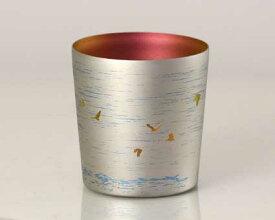 【送料無料】新潟 燕三条 [HORIE]ホリエ  純チタンタンブラー 敬老の日にオススメ純チタンコップ 純チタンカップに優雅に舞う朱鷺(トキ)配しました。 朱鷺 ミニ 200ml シルバー