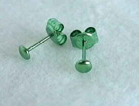 新潟 燕三条 [HORIE]ホリエ 純チタンピアス 両耳 ボタン フローラルグリーン緑 金属アレルギーの方も安心