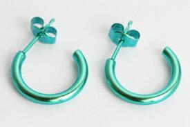 新潟 燕三条 [HORIE]ホリエ 純チタンピアス 両耳 Gリング2×15 グリーン 金属アレルギーの方も安心