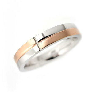 ステンレス 格子柄デザインリング4mm【PVDピンク】サイズ13〜21号 文字入れ刻印可能♪/ペアセットリング/結婚指輪/マリッジリング
