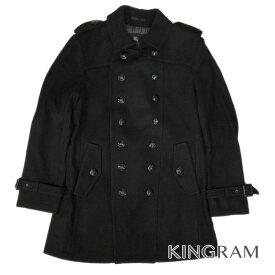 バーバリーブラックレーベル BURBERRY BLACK LABEL ウール ロングピーコート LLサイズ D1B01-200-09 ブラック 毛75% ナイロン20% カシミヤ5% メンズ アウター rib【中古】