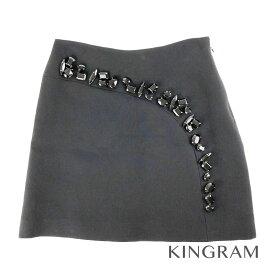 プラダ PRADA ビジュ付 38S ブラック ウール×絹 レディース スカート rmt【中古】