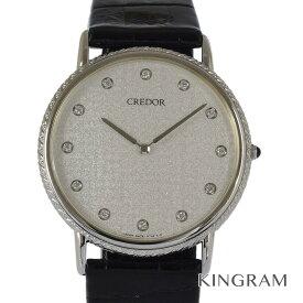 セイコー SEIKO クレドール メンズ 5A74-0430 ボーイズ K18WG無垢 ダイヤモンド12P クォーツ メンズ 腕時計 gi【中古】