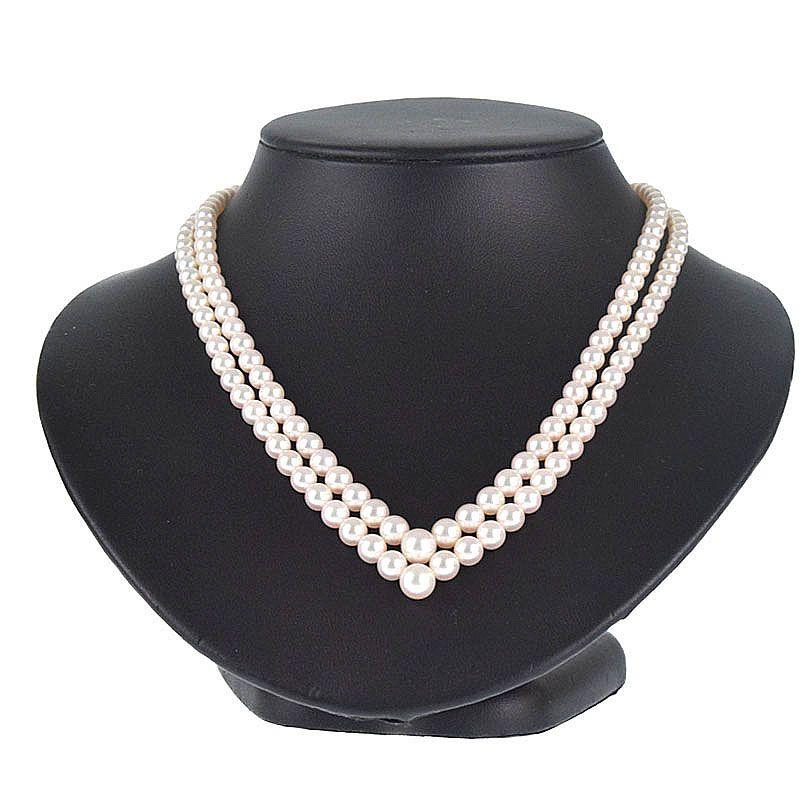 ミキモト MIKIMOTO ネックレス K18YG(750) 真珠 パール 2連 ネックレス rhr 【中古】