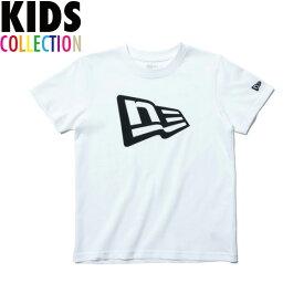 ニューエラ Tシャツ キッズ NEW ERA Kid's コットン Tシャツ 子供用 男の子 女の子 誕生日 プレゼント フラッグロゴ ホワイト/ブラック 130-160サイズ 11901433