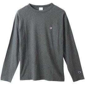 チャンピオン Tシャツ 長袖 CHAMPION ロングスリーブTシャツ ベーシック ワンポイント メンズ ヘザーチャコール C3-P401