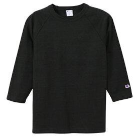 チャンピオン Tシャツ 7分袖 メンズ CHAMPION T1011 ラグラン3/4スリーブ 19SS MADE IN USA ブラック S-XL C5-P404