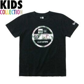 ニューエラ Tシャツ キッズ NEW ERA Kid's コットン Tシャツ 子供用 男の子 女の子 誕生日 プレゼント ボタニカル バイザーステッカー/ブラック 130-160サイズ 11901430