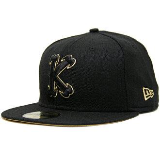 """国王""""K""""原始新时代帽和黑色黄金新时代新时代) (国王国王) x (原 59FIFTY) (Cap 帽帽子头饰)"""