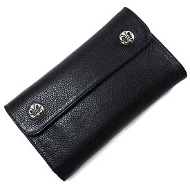 【クロムハーツ 財布】CHROME HEARTS ウェーブ・フレアボタン・ブラック・ヘビーレザー Wave Wallet Black Heavy Leather w/BS Fleur Buttons