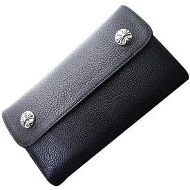 【クロムハーツ 財布】CHROME HEARTS ウェーブ・クロスボタン・ブラック・ヘビーレザー Wave Wallet Black Heavy Leather w/Cross Buttons