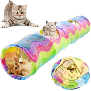 【全国送料無料】猫 トンネル ハウス キャットトンネル ペットとんねる おもちゃ 折りたたみ式 収納便利 安全素材 ボールに付き ストレス解消 遊び道具 キャット玩具 2穴 プレイトンネル 猫