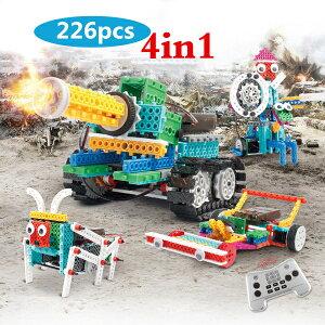 電動ロボット バトルタンク ブロックおもちゃ 積み木 男の子 4IN1変形ロボット バトルタンク 戦車 四輪駆動 電動組立てロボットキット カー ラジコン 騎士 DIY 3D キッズ 子供 ジュニア カラー