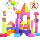 121ピースセットソフトブロックEVA素材積み木DIYおもちゃかるくてふんわり知育玩具男の子女の子柔らかい軽くてカラフル想像力色彩・図形・動物認知早期開発子供の日ギフトクリスマスプレゼント収納袋付き出産祝いイマジナリウム2019