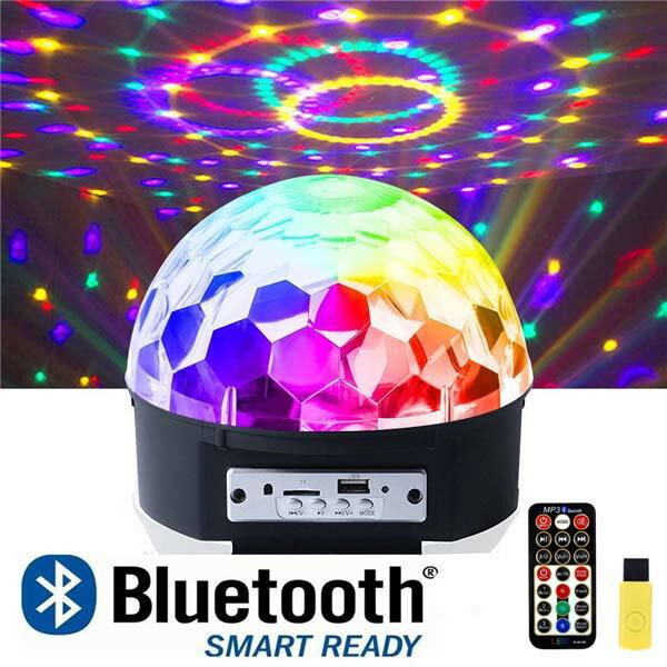 【送料無料】ステージライト 舞台照明 Bluetooth ワイヤレス RGB多色変化 演出 コンサート スピーカー内蔵 マジックボール クリスタル エフェクトライト 回転 水晶魔球 ミラーボール LEDライト 投影ライト リモコンコントロール プレゼント