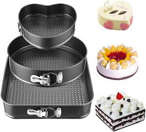 ケーキ型 デコレーション型 ハート型 角型 丸型 3個セット 底取れ式 スチール製ノンスティック 耐熱皿 漏れ防止 DIY チーズケーキパン ラウンドケーキパン【海外通販】