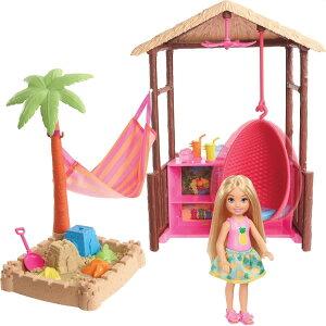 バービー ドリームハウスアドベンチャー 「チェルシーのティキ小屋」ドール&プレイセット (Barbie Chelsea Tiki Hut Playset with Small Blonde Doll, Hut with Swing, Hammock, Moldable Sand and Accessories /FWV24 /MATTEL社/