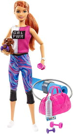 バービー フィットネスドール&アクセサリーセット [Barbie Fitness Doll, Red-Haired, with Puppy and 9 Accessories /Mattel/GJG57 /人形 かばん アクセサリー ペット]