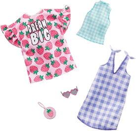 バービー ファッションパック 2着セット (イチゴのワンピース&チェック柄)/洋服 アクセサリー かばん (Barbie Clothes: A Strawberry-Print Dress, A Checked Dress and Top/ MATTEL/GHX61)
