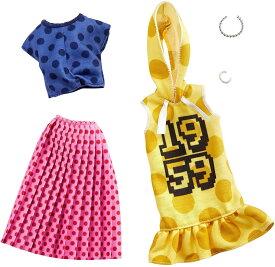 バービー ファッションパック 2着セット (フード付きワンピース&水玉柄の上下)/洋服 アクセサリー かばん (Barbie Clothes: 2 Outfits Doll Feature Polka Dots On A Yellow Hoodie Dress, A Blue Top and Pink Skirt/ MATTEL/GHX60)
