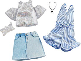 バービー ファッションパック 2着セット (ラメ入りトップス&ストライプロンパース)/洋服 アクセサリー かばん (Barbie Clothes: 2 Outfits Doll Include A Sparkly Shirt, Skirt and Romper/ MATTEL/GHX56)