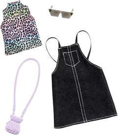 バービー ファッションパック アニマル柄トップス、黒のサロペットスカート (Barbie Clothes: 1 Outfit and 2 Accessories/ MATTEL/GHW74 /服 かばん アクセサリー)