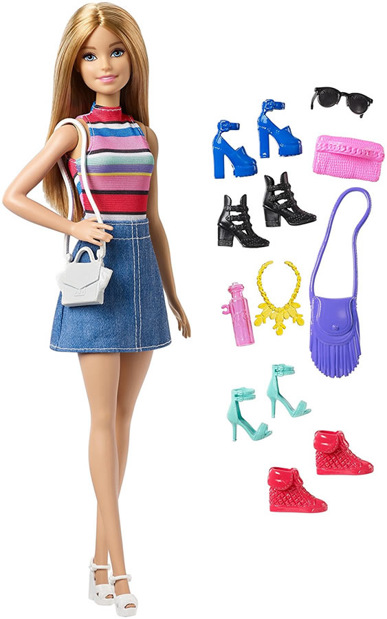 バービー ドール&シューズ、アクセサリーセット [Barbie Doll And Accessories, Blonde /Mattel/FVJ42 /人形 靴 かばん アクセサリー]