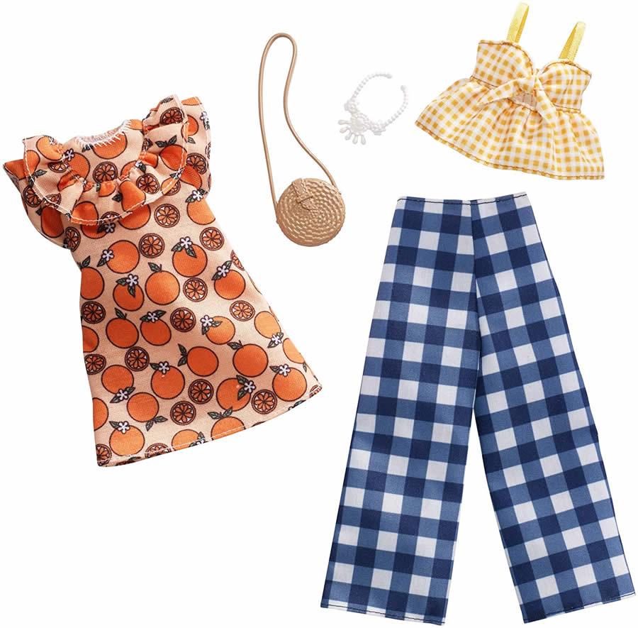 バービー ファッションパック 2着セット (フルーツ ギンガムチェック)/洋服 アクセサリー かばん (Barbie Fruit Gingham Fashion Pack/ MATTEL/FXJ61)