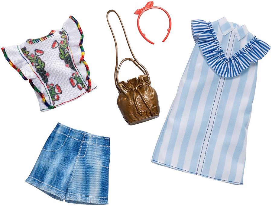 バービー ファッションパック 2着セット (フローラル ストライプ)/洋服 アクセサリー かばん (Barbie Floral Pinstripes Fashion Pack / MATTEL/FXJ63)