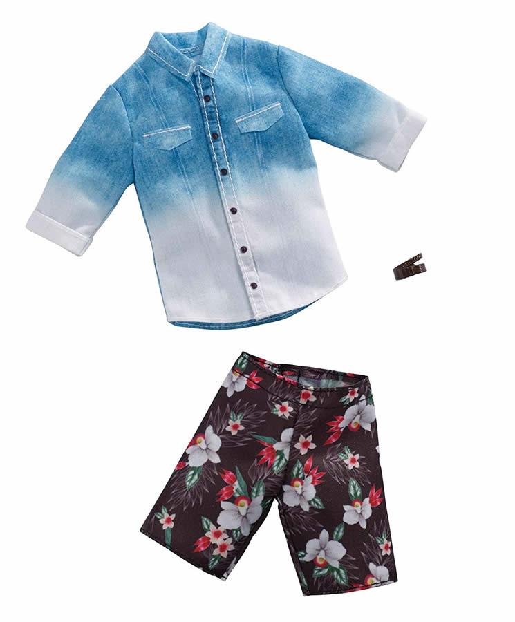 バービー ケン ファッションパック デニムシャツ&プリント短パン/洋服・アクセサリー [Barbie Ken Denim Ombre Shirt Fashion /MATTEL/FXJ36]