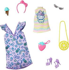 バービー アクセサリーファッションパック ハローキティ シャツ&ワンピース ラベンダー (Barbie Storytelling Fashion Pack of Doll Clothes Inspired by Hello Kitty & Friends: Dress, Top / MATTEL/GJG42 /服 かばん 靴 アク
