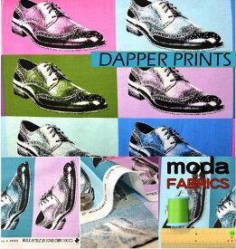 【ポイント10倍】生地 モダUSAファブリック《多色配色の革靴柄》【50cm単位販売 メール便は3mまで可】【モダ/moda fabrics/布/布地/Dapper Prints/USAコットン/シューズ柄】(MA23)